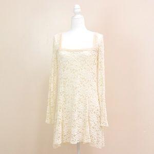 Free People Cream Beige Lace Long Sleeve Dress L